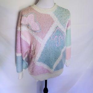 Vintage 80's baby blue & pink embellished sweater
